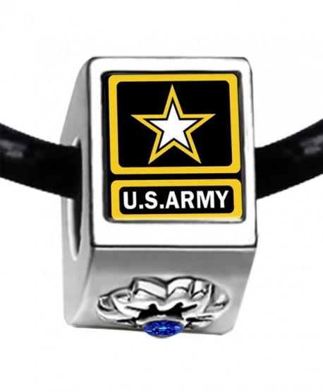 Character Army Photo Sapphire Crystal September Birthstone Flower Bead Charm Bracelets - C711Q7IAB7H