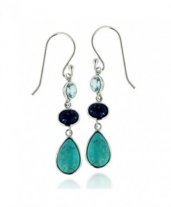 Rhodium Plated 925 Sterling Silver Gemstone Triple Drop Dangle Earrings - Blue - C011TT2PDSL