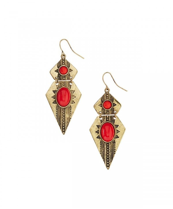 Lux Accessories Coral & Burnished Goldtone Arrowhead Drop Earrings - CF122MVGKB9