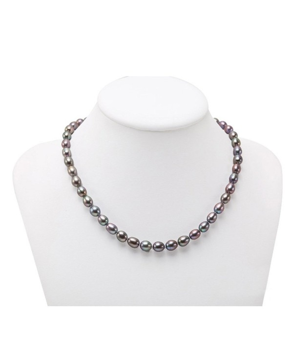 """JYX Classic Oval White Cultured Freshwater Pearl Necklace 18"""" - Black - C018227TRTY"""