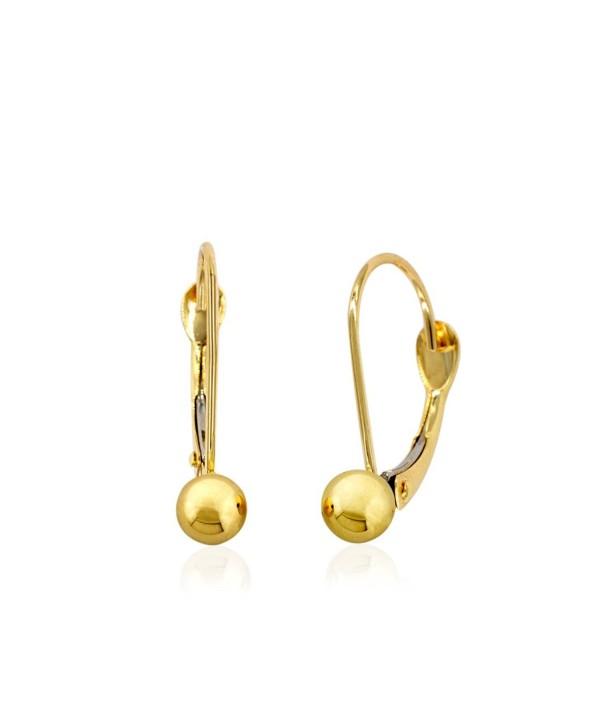 10k Yellow Gold 4mm Small Fixed Ball Leverback Earrings - C417XWLNIA0
