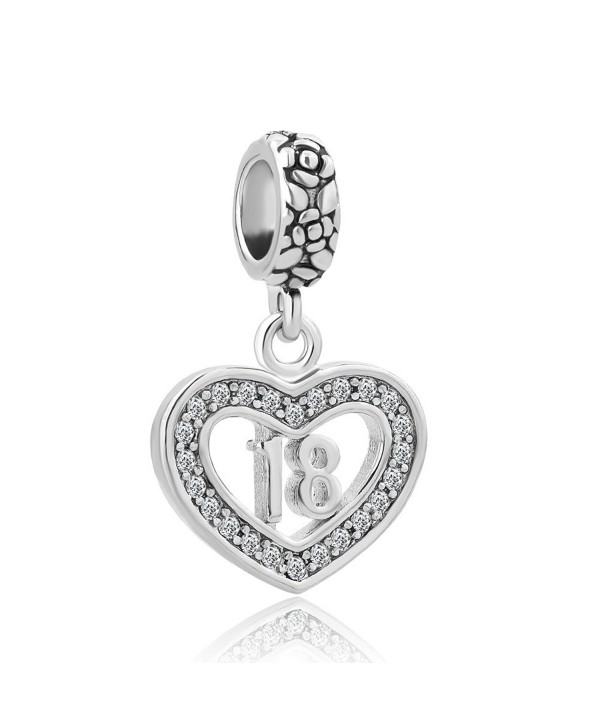 CandyCharms Happy Birthday of 18 Heart Love Dangle Beads For Bracelets - CH12NV0MNQH