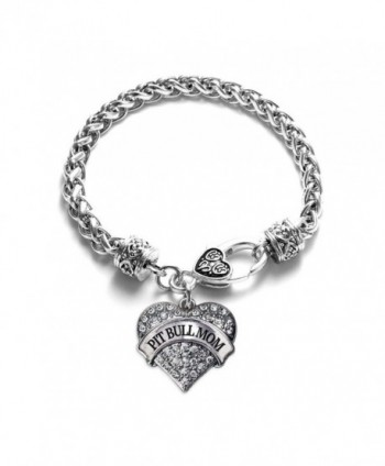 Pit Bull Mom Pave Heart Charm Bracelet Silver Plated Lobster Clasp Clear Crystal Charm - C2123HZRD33