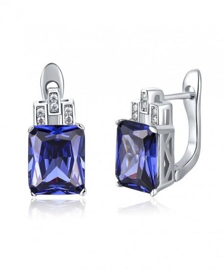 Merthus Womens 925 Sterling Silver Created Tanzanite Stud Earrings - Blue - C2186EAIEK5