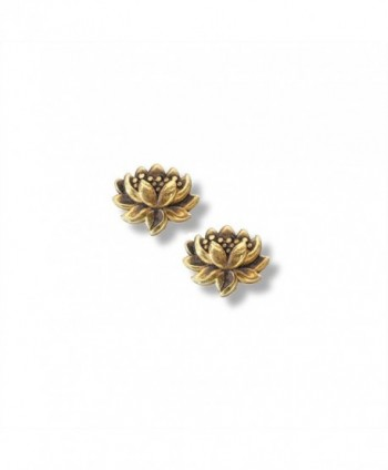 Small Detailed Lotus Earrings in 14k Gold Plated Sterling Silver- 6763 - CE11XGG3UNV