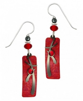 Adajio By Sienna Sky Handmade Red Column Earrings with Hematite Asian Overlay and Cabochon - 7297 - CF1207D35Q7
