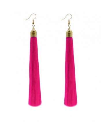 Feramox Long Tassel Earrings Bohemian Tassels Drop Dangle Earrings for Women - Hot Pink - C5184RHQU0O