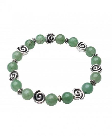 "Aventurine Bracelet with Celtic Knot Swirls- 7 1/2""- Stretch Style - CA11LP7I1Q9"