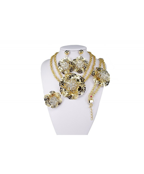 MOOCHI 18K Gold Plated Double Chain Large Hollow Flower Africa Necklace Alloy Jewelry Set - CI185X83CWA