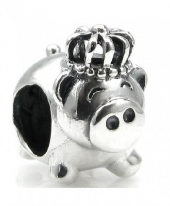 Sterling Silver Pig King Crown European Style Bead Charm - CU115QPKUGF