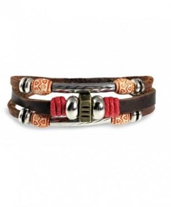 Red Accent Multi Strand Gypsy Design Beaded Leather Zen Bracelet in Gift Box - CS115MK77JH