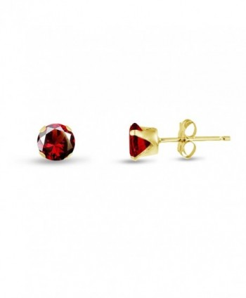 Round 2mm Simulated Red Garnet CZ Stud Earrings (0.12 cttw) Sterling Silver- 14k Yellow or Rose Goldplate - CY11JY35Z3X