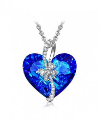 "QIANSE ""Stay for Love"" Bermuda Blue Heart Necklace Made with Swarovski Crystals - Butterfly Design - CH18256ZHZ2"