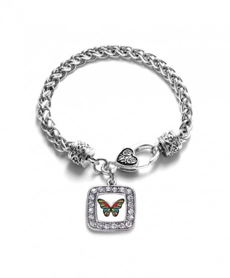 Autism Awareness Butterfly Classic Braided Classic Silver Plated Square Crystal Charm Bracelet - CX11XMU2KNR