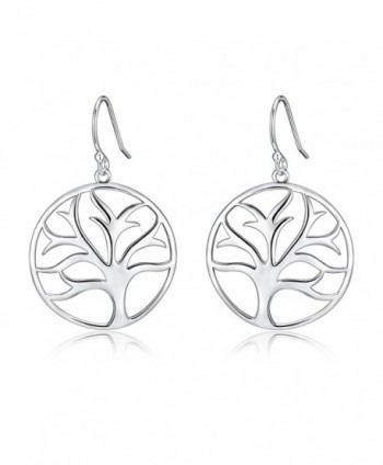 Highly Polished Sterling Silver Filigree Tree of Life Dangle Drop Earrings - CO12K3UKV4N