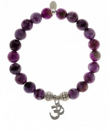 EvaDane Natural Sugilite Gemstone Rope Bead Om Charm Stretch Bracelet - CW12DR21O09
