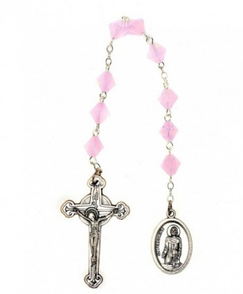 St. Peregrine Chaplet made w/Rose Water Opalized Pink Swarovski Crystal-Cancer Patients Patron Saint-Oct - CE110OXFF4L