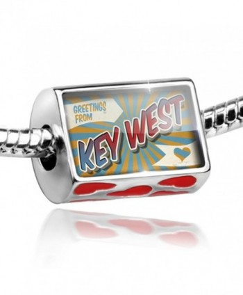 Bead with Hearts Greetings from Key West- Vintage Postcard - Charm Fit All Euro - CA11HA25U7F