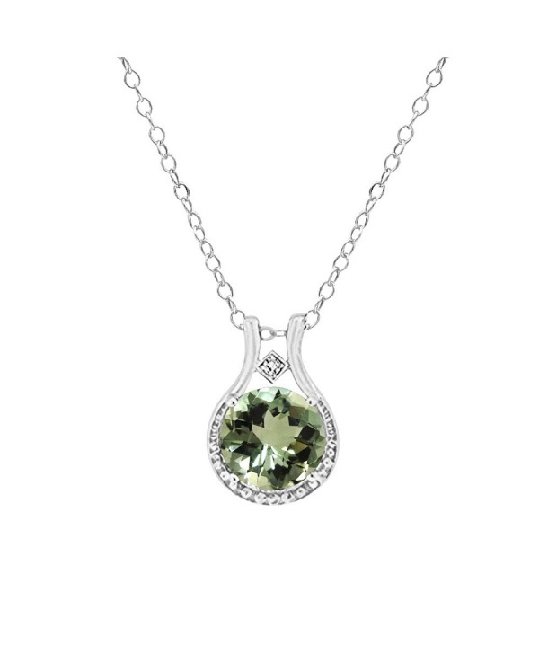 3.00 CTW Genuine Diamond and Green Amethyst Halo Pendant in Sterling Silver- 18'' - CV12KZ2DW59