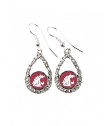 Washington State Cougars Crimson Teardrop Clear Crystal Silver Earrings Jewelry WSU - CR11J1GYQZB
