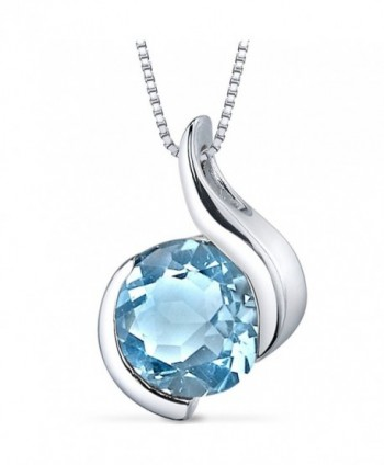 Swiss Blue Topaz Bezel Pendant Necklace Sterling Silver Rhodium Nickel Finish 2.25 Carats - C9116FI9BET