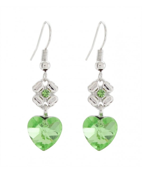 DaisyJewel Lucky Four Leaf Clover Accent with Green Crystal Heart Earrings - C312C2WYUUB