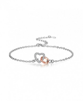 925 Sterling Silver Heart Connected Bracelet for Women Adjustable - CD189SN32KQ
