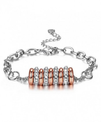 "J.NINA ""String of Happiness"" 14k Rose-Gold & White Gold Plated Bracelet- Nine Circles Design Hand String - CO17WWH8RQG"