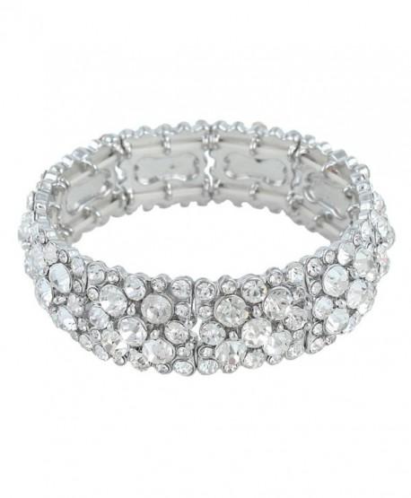 EVER FAITH Women's Round Austrian Crystal Elegant Bridal Stretch Bracelet Gold-Tone - Clear Silver-Tone - CB11PQS6YJJ
