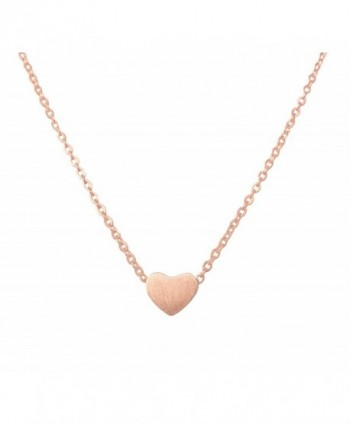 Altitude Boutique Simple Heart Necklace for Her- Pendant Love Choker (Gold- Silver- Rose Gold) - Rose Gold - C71884Y08EH