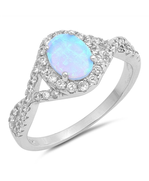 CHOOSE YOUR COLOR Sterling Silver Oval Infinity Knot Ring - Blue Simulated Opal - C91854MIRSD