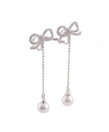 Platinum Plated AAA CZ Bowknot Clip on Earrings Without Piercing for Women Long Pearl Earrings - CD17Z6TQ893