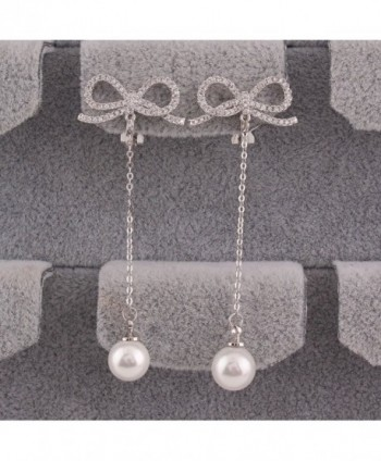 Platinum Bowknot Earrings Without Piercing in Women's Clip-Ons Earrings