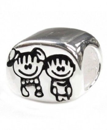 Sterling Silver Brother & Sister Family European Style Bead Charm - C9118PR0IC7