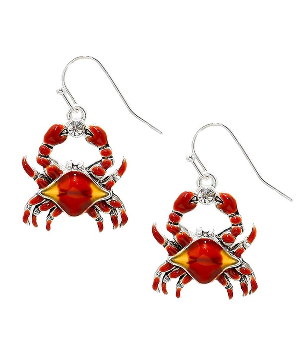 Liavy's Red Crab Fashionable Earrings - Enamel - Fish Hook - Sparkling Crystal - Unique Gift and Souvenir - CC12O05T66D