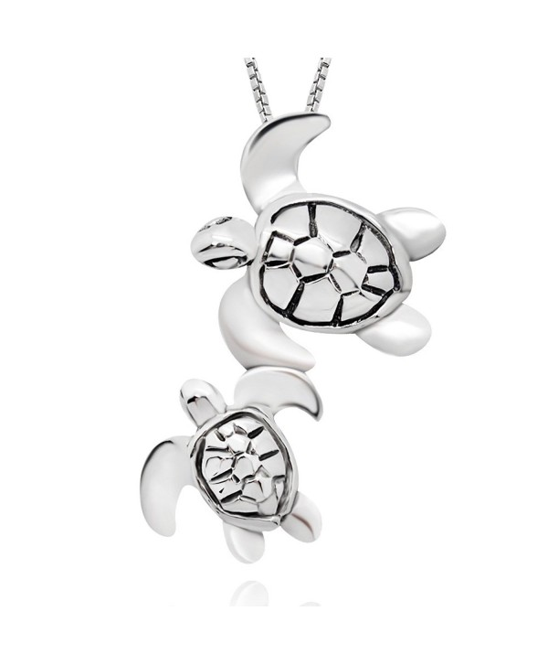 "925 Sterling Silver Mom and Baby Turtle Pendant Neacklace- 18"" - C4121RF45EF"