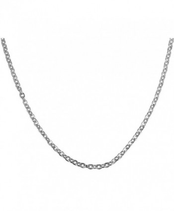 Stainless Steel Necklace Cable O Chain Silver Titanium Steel Link Men Women Pendant Jewelry 1.5mm Wide - CK12NSY09QJ