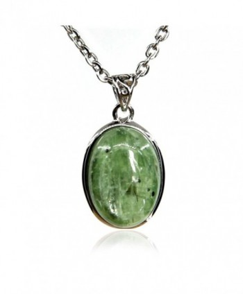"Amandastone 20MM Natural Gemstone Crystal Oval Charm Pendant Necklace 18"" - Green Strawberry Crystal - CS182S7A4RC"