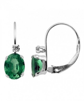 Finejewelers 6x4mm Leverback Earrings - Created Emerald - CY11BC7EVBL