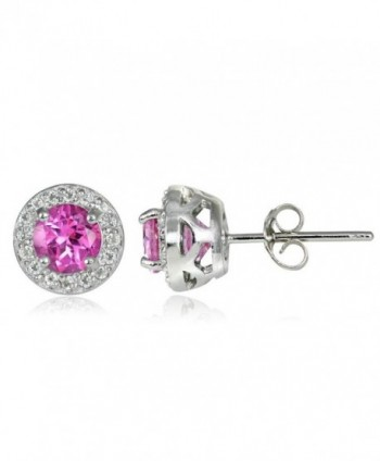 Sterling Silver Choice Of Birthstone Colors & White Topaz 5mm Halo Stud Earrings - Created Pink Sapphire - CP12GSJYNAP
