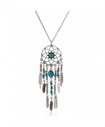 Lureme Native American Dream Catcher Turquoise Pendant Long Chain Necklace (01003467) - C212B1NOR5Z