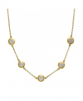 "Crystaluxe Station Necklace with Swarovski Crystals in 10K Gold-Bonded Sterling Silver- 17"" - CX1260CTMC5"
