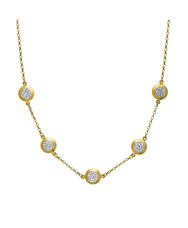 """Crystaluxe Station Necklace with Swarovski Crystals in 10K Gold-Bonded Sterling Silver- 17"""" - CX1260CTMC5"""