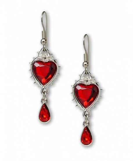 Red Heart Romance Dangle Earrings Austrian Crystals Thorns and Roses Silver Finish - C412O6UV0Y3