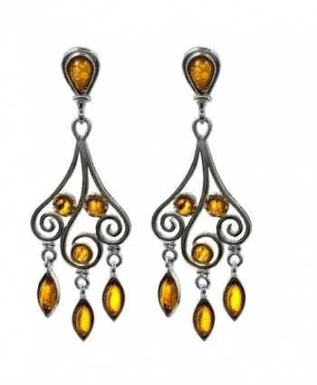 Honey Amber and Sterling Silver Dangle Chandelier Classic Earrings - CM1154HDDMN
