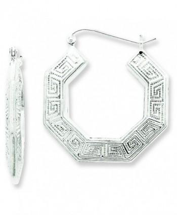 Sterling Silver Rhodium-Plated Greek Key Hoop Earrings - CI115738BPN