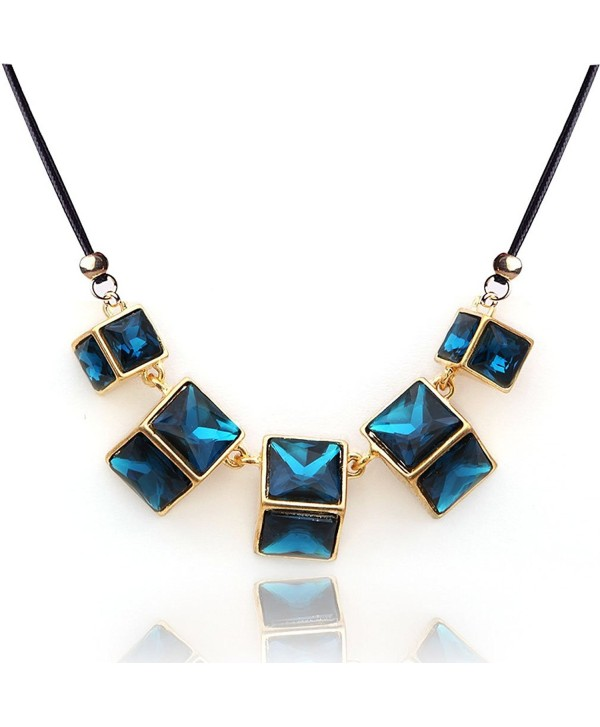 Yazilind European Gorgeous Dark Blue Square Crystal Gold Plated Bib Temperament Necklace - Dark Blue - CR11NZMYT0T