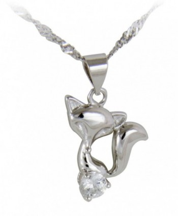 Little Fox Necklace- 4.5mm Cubic Zirconia- 45cm 925 Sterling Silver Chain - C111H1MPU1B