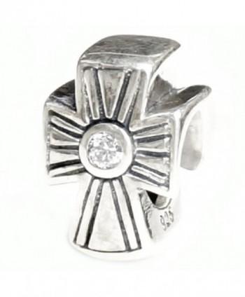 Sterling Silver Holy Cross Clear Cz European Style Bead Charm - CE11GOJLZTN