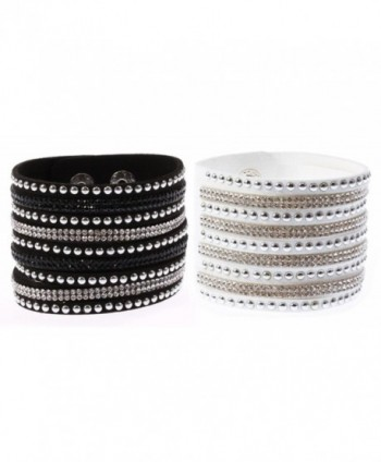 Finov Multi-layer Wristband Velvet Wrap Bracelet with Rhinestones Rivets - Black White - CE12MAKO4T7